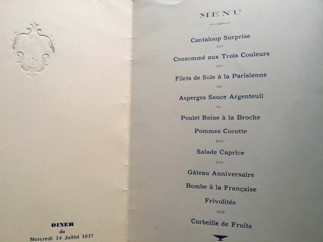 The menu from my grandmother's dinner on the Île de France in July, 79 years ago. I wonder what went into the Bombe à la Française?