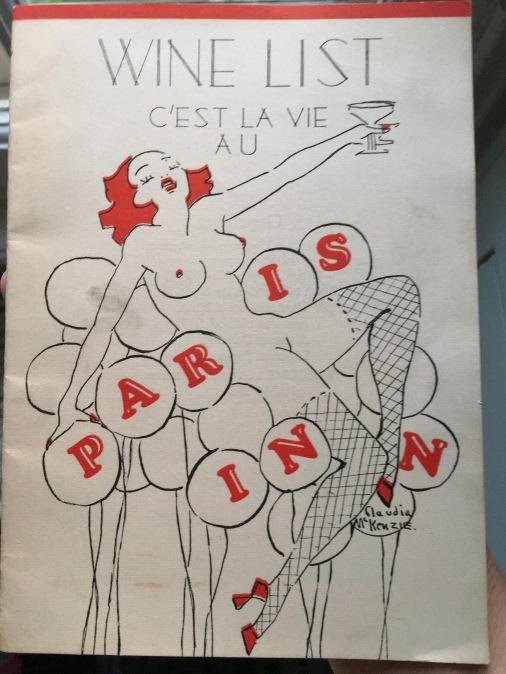 Wine list from the Paris Inn.