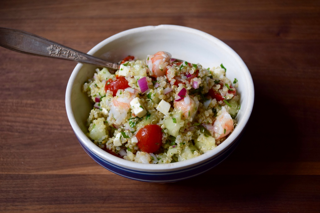 Quinoa Shrimp Salad with Cucumber and Feta