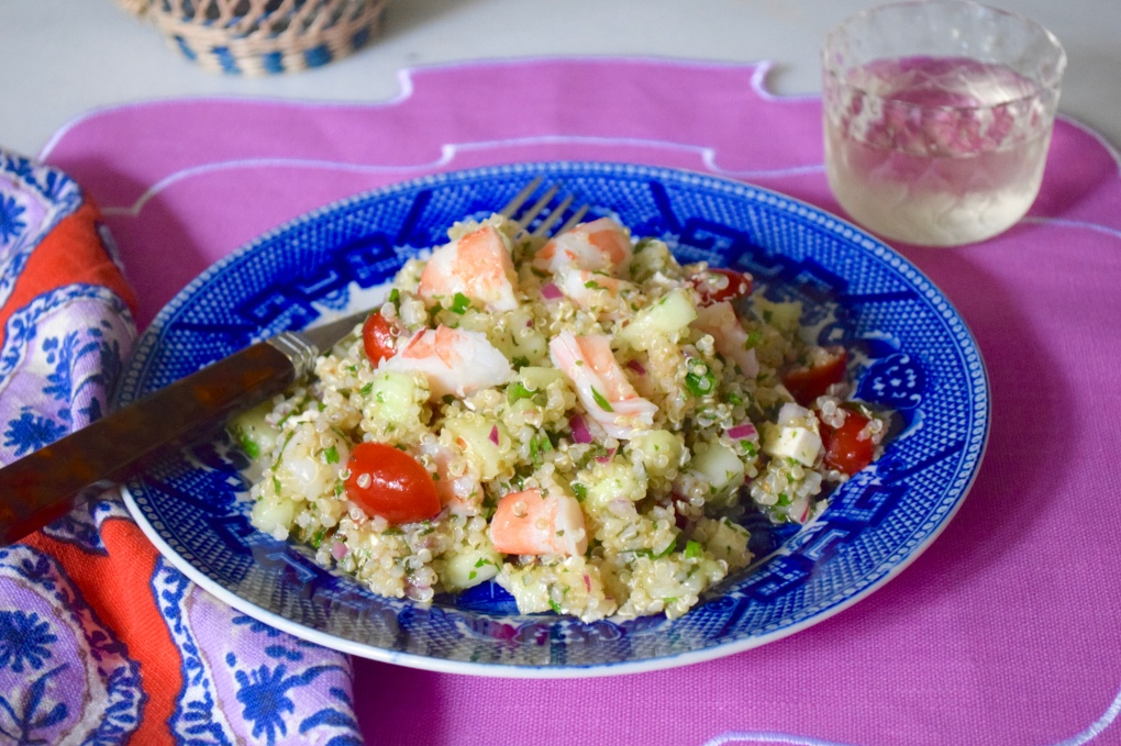 Quinoa Shrimp Salad with Cucumber and Feta