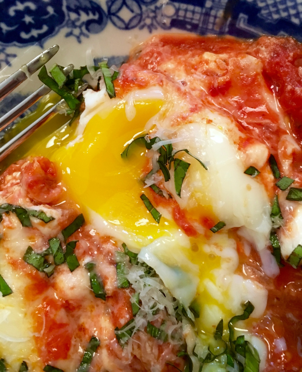 Italian Baked Eggs with Goat Cheese and Basil