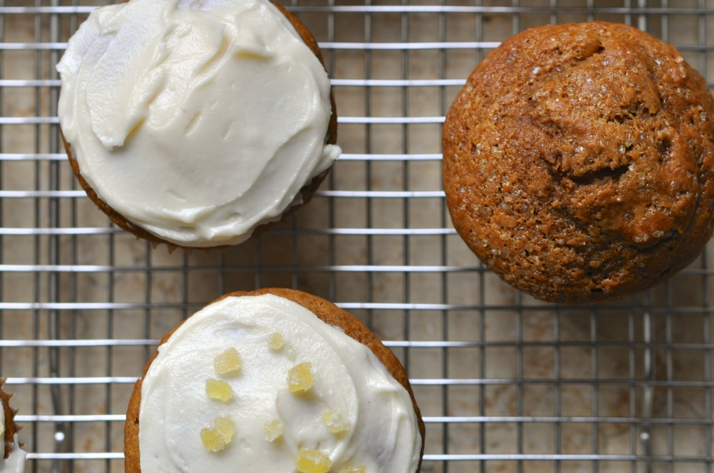Spiced Pumpkin Muffins with Maple Cream Cheese Frosting