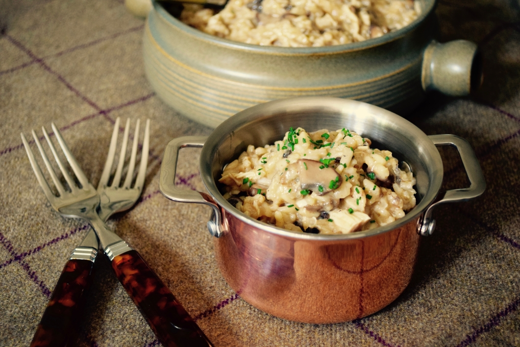 Wild Mushroom and Pulled Chicken Risotto